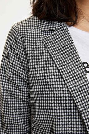 Defacto Kadın Siyah Ekose Blazer Ceket M8794AZ.20SP.BK27 3