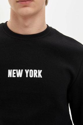 Defacto Erkek Siyah New York Baskılı Sweatshirt N2569AZ.20SP.BK27 2