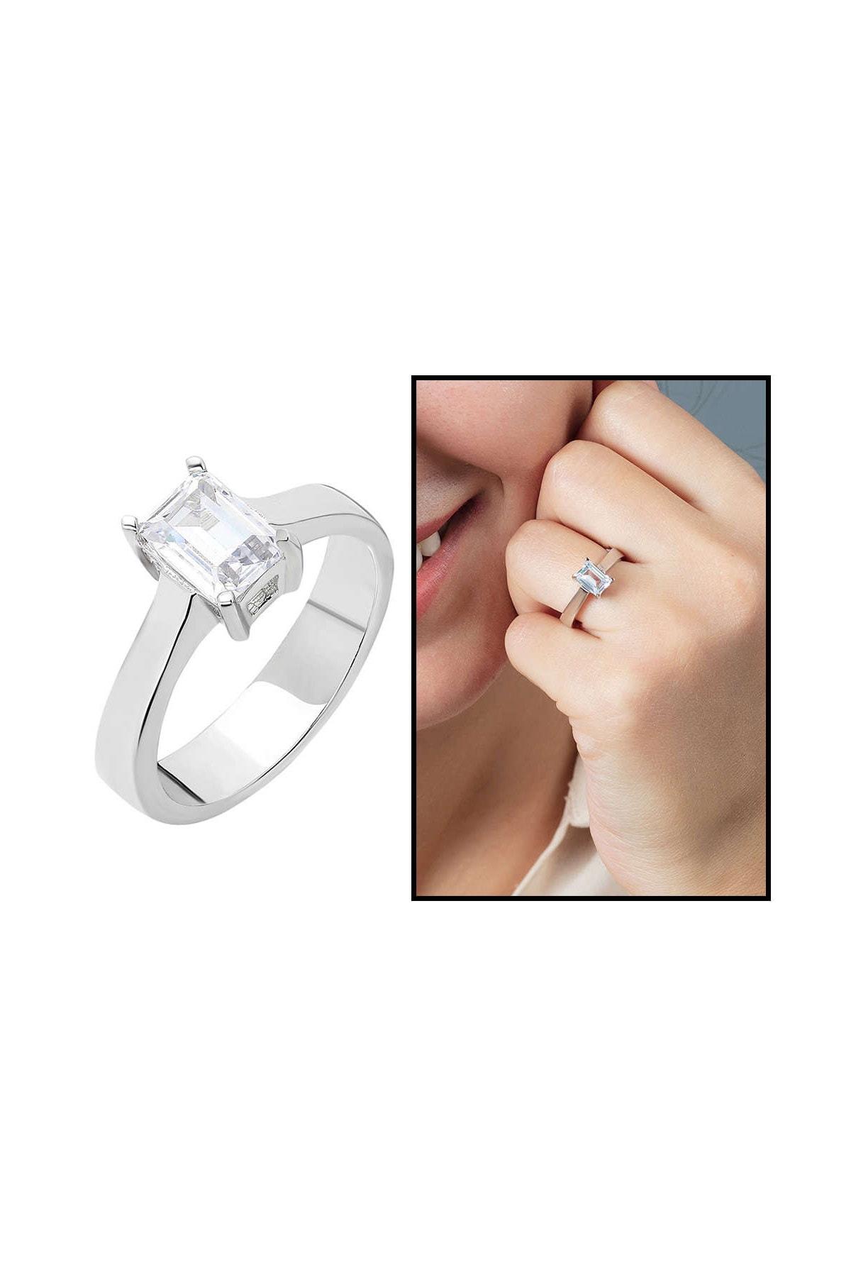 Tesbihane Starlight Diamond Pırlanta Montür Minimal Tasarım 925 Ayar Gümüş Bayan Baget Yüzük 102001792 1