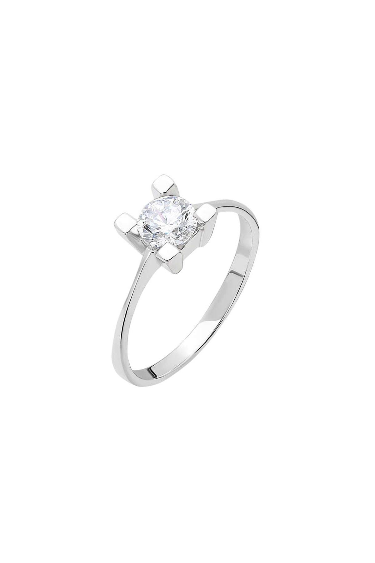 Tesbihane Starlight Diamond Pırlanta Montür Kare Tasarım 925 Ayar Gümüş Bayan Tektaş Yüzük 102001785 3