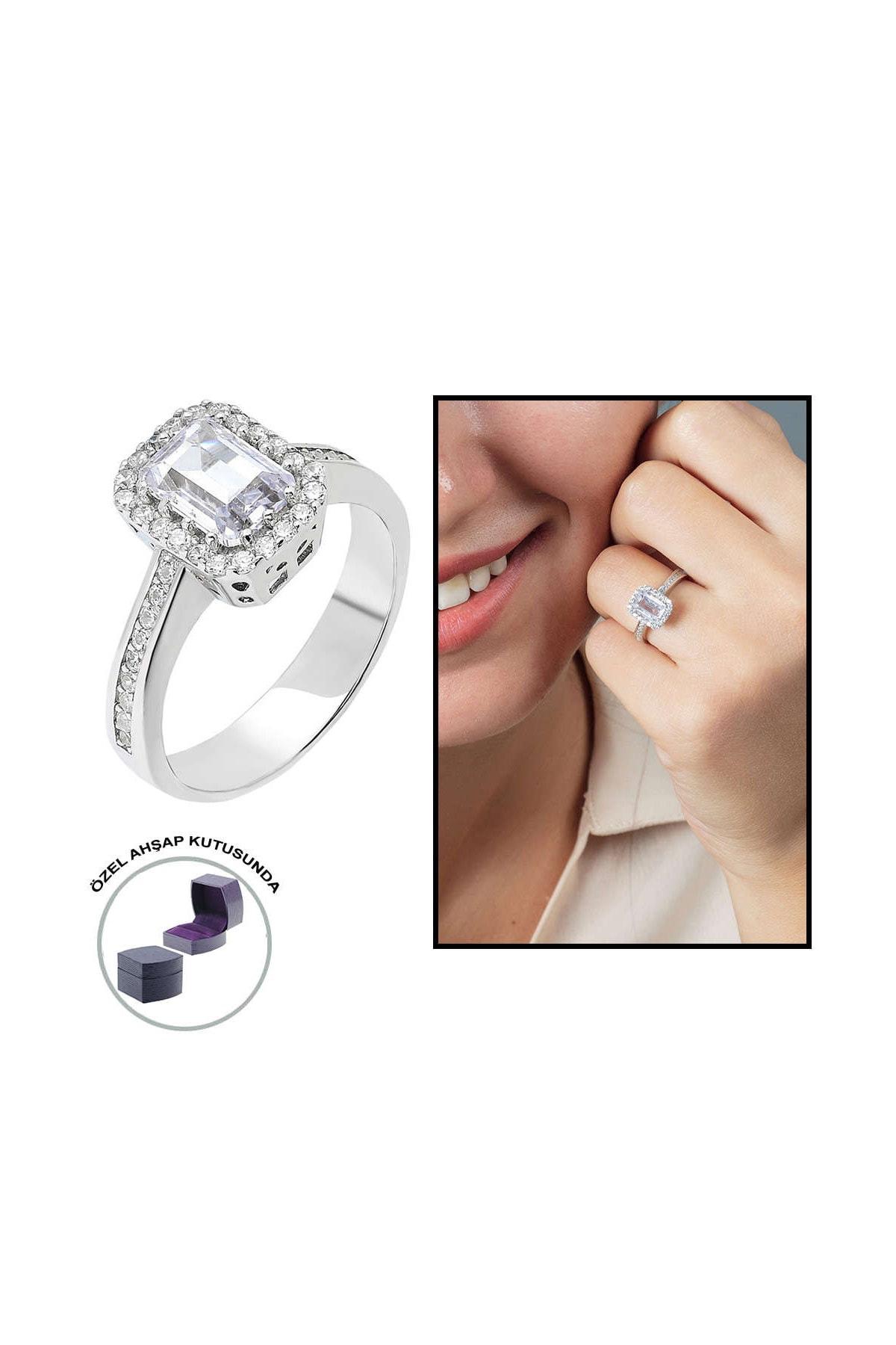 Tesbihane Starlight Diamond Pırlanta Montür Zarif Tasarım 925 Ayar Gümüş Bayan Baget Yüzük 102001798 0