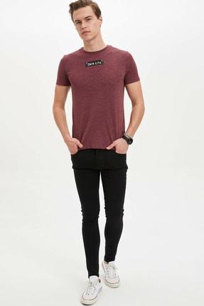 Defacto Erkek Bordo Baskılı Slim Fit T-Shirt M4080AZ.20SP.BR34 1