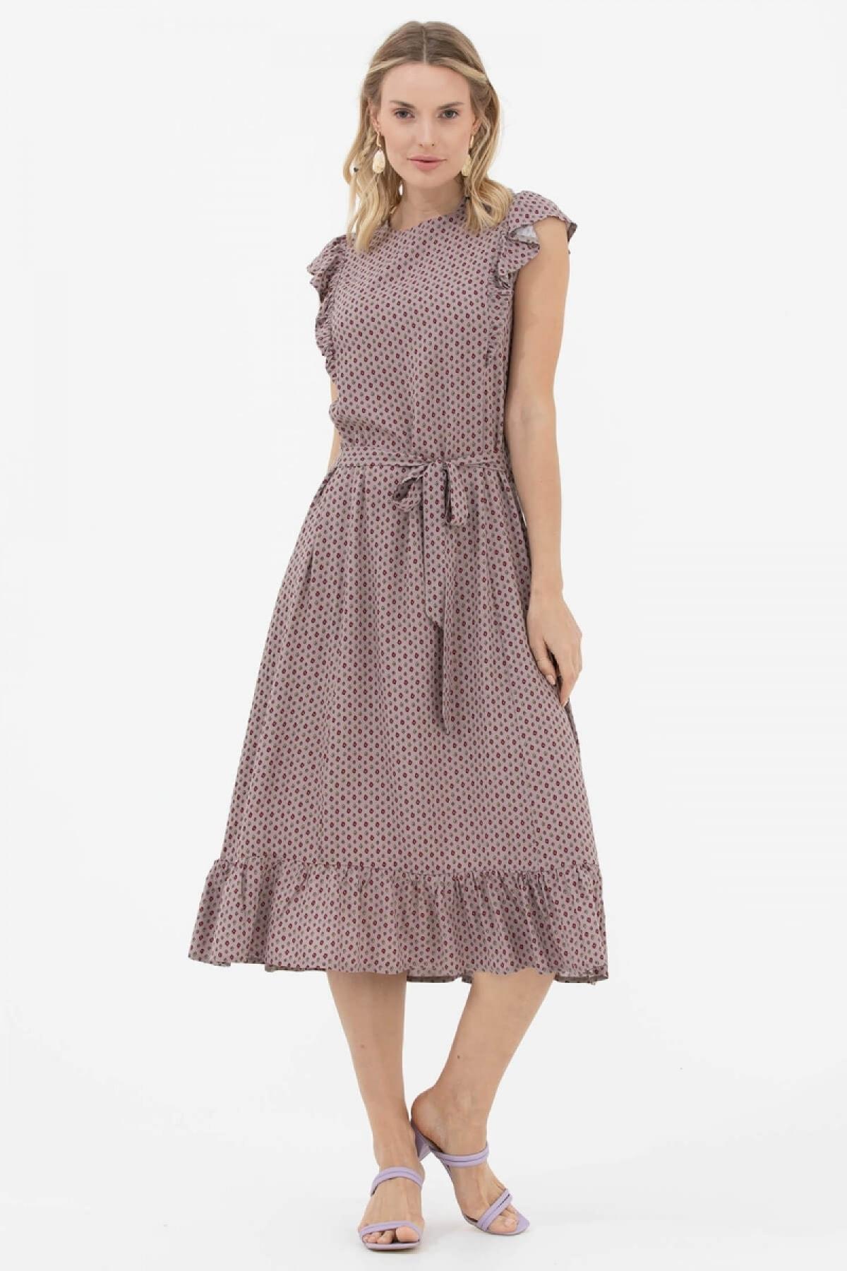Fırfır Ve Kemer Detaylı Elbise - Taş
