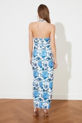 TRENDYOLMİLLA Mavi Çiçek Desenli Bel Detaylı  Abiye & Mezuniyet Elbisesi TPRSS21AE0144 4