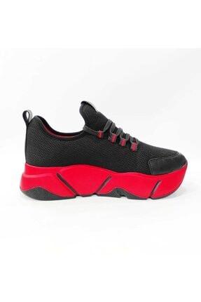 Mnz shoes Rsl Kalın Taban Triko Kumaş Çift Bağcıklı Kadın Günlük Spor Ayakkabı 3