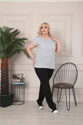 Butik Şımarık Kadın Büyük Beden Bisiklet Yaka Beyaz Siyah Küçük Puantiyeli Kısa Kol T.shirt 2