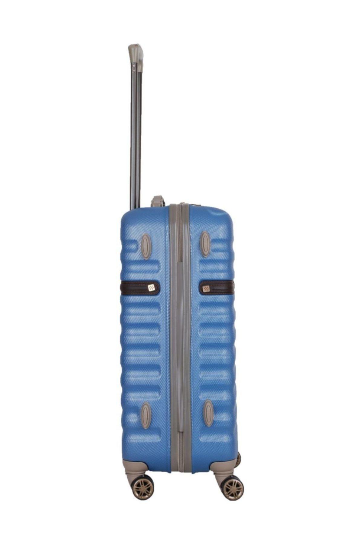 Baggaj Unisex Mavi Orta Boy Abs Yerli Valiz V304 65 Cm
