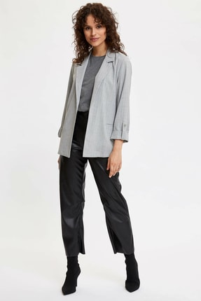 Defacto Kadın Gri Katlamalı Kol Blazer Ceket N5050AZ.20SP.GR138 1