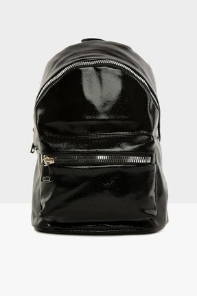 Bagmori Parlak Siyah Kadın Kalın Fermuarlı Dokulu Sırt çantası  M000004125 0