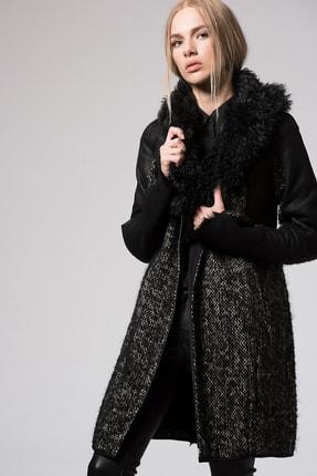 Hakiki Yünlü Deri Kapüşonlu Palto resmi