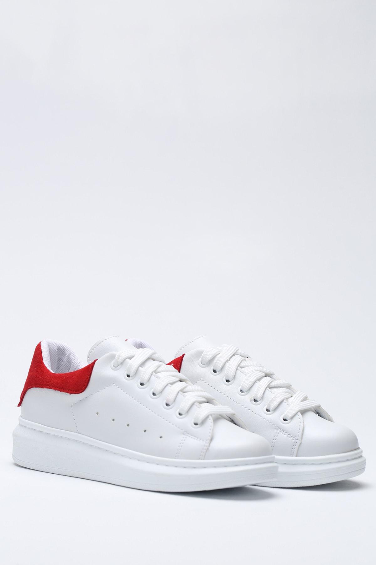 Ayakkabı Modası Beyaz-Kırmızı Kadın Casual Ayakkabı 5007-20-110001 4