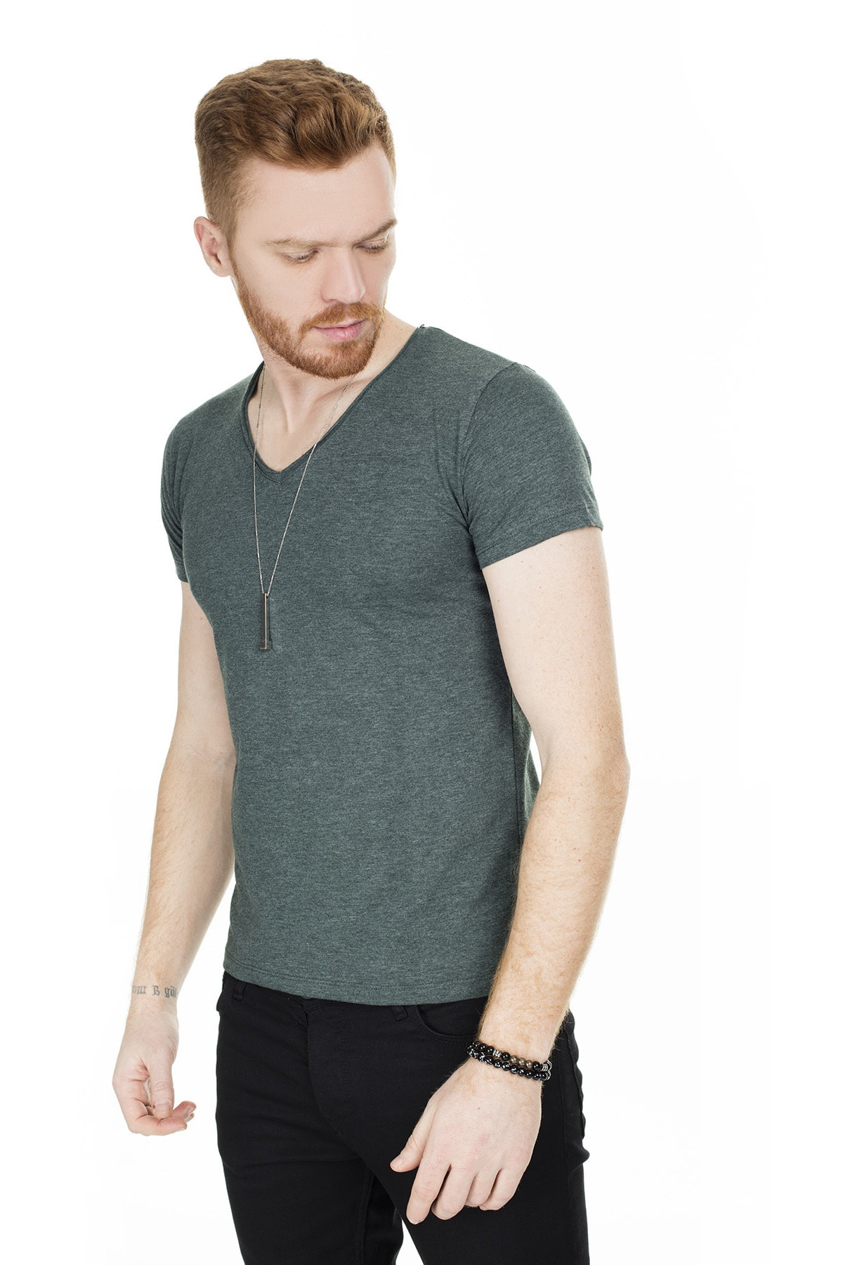 Buratti Erkek Yeşil V Yaka Pamuklu Basic T Shirt 54153 3
