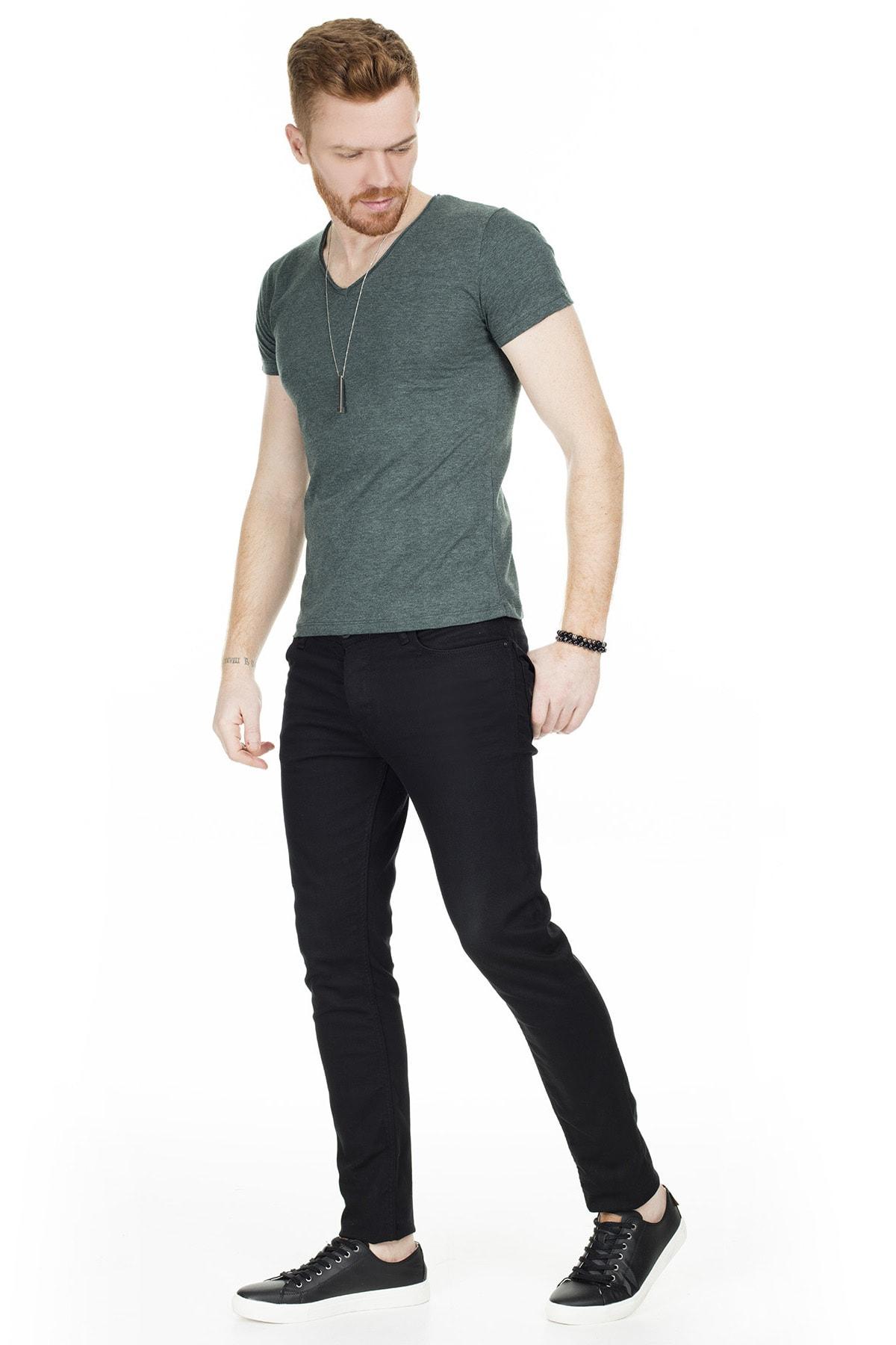 Buratti Erkek Yeşil V Yaka Pamuklu Basic T Shirt 54153 4