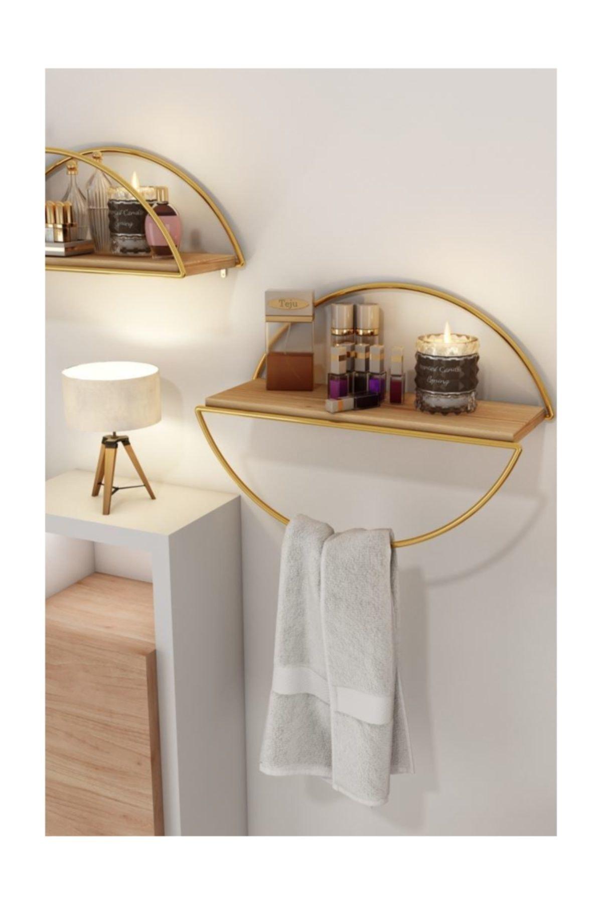 Duvar Rafı Dekoratif Mutfak Banyo Altın Elips Kitaplık 2li Set