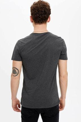 Defacto Erkek Antrasit Basic Regular Fit T-Shirt 3