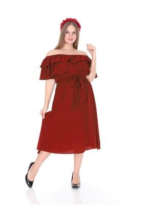 Kadın Büyük Beden Roba Fırfır Katlı Elbise Tarçın L1611 resmi