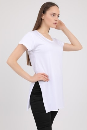 MD trend Kadın Beyaz V Yaka Yırtmaçlı Kısa Kol Pamuklu T-Shirt Mdt3025 1