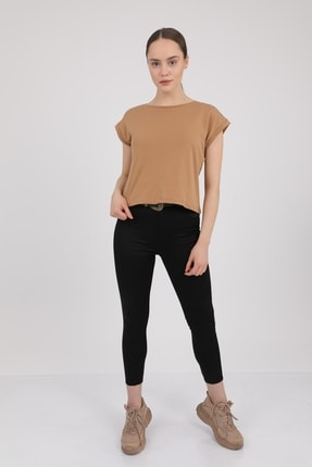 MD trend Kadın Sütlü Kahve Bisiklet Yaka Kısa Kol T-Shirt Mdt3286 0