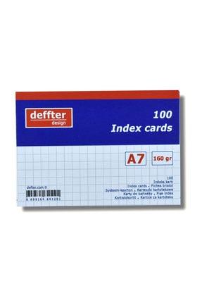 Deffter Index Kartı A7 Beyaz Kareli 0