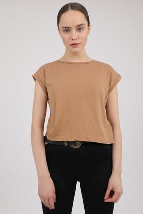 MD trend Kadın Sütlü Kahve Bisiklet Yaka Kısa Kol T-Shirt Mdt3286 1