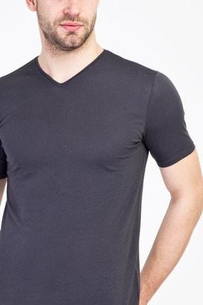 Kiğılı Erkek Koyu Antrasit V Yaka Slim Fit Tişört 1