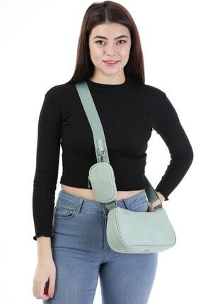 ICONE BAG Icone Kadın Saten Suni Cüzdan Aksesuarlı Mini Askılı Çanta Su Yeşili Renk 1