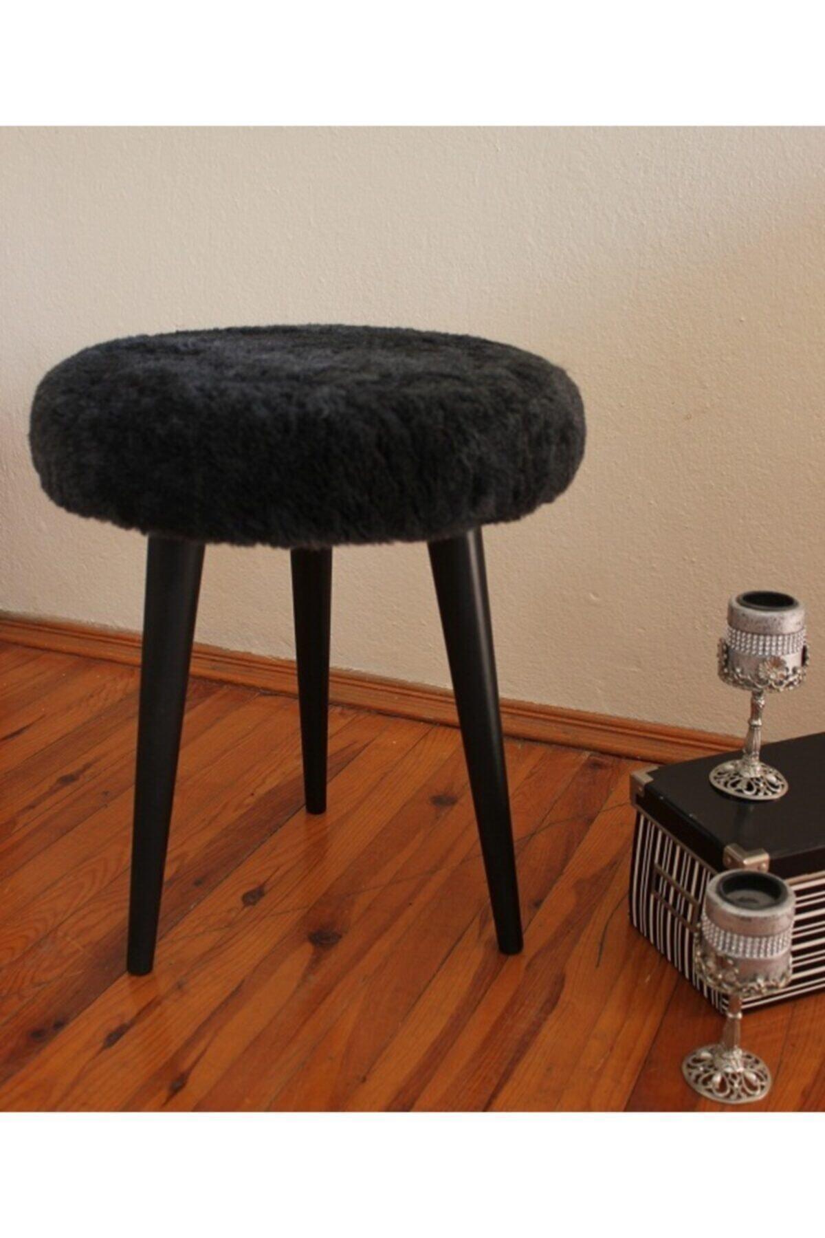 Neta Home Ahşap Ayak Dekoratif Antrasit Siyah Pelüş Puf Tabure Bench Yuvarlak Koltuk Sandalye