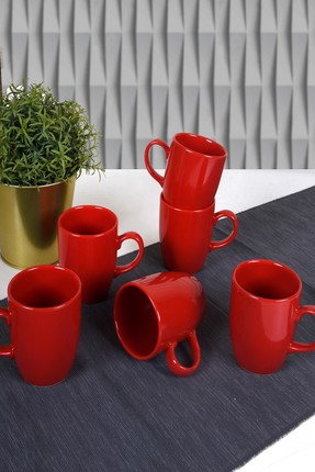 Keramika Kırmızı Bulut Kupa 9 Cm 6 Adet 0