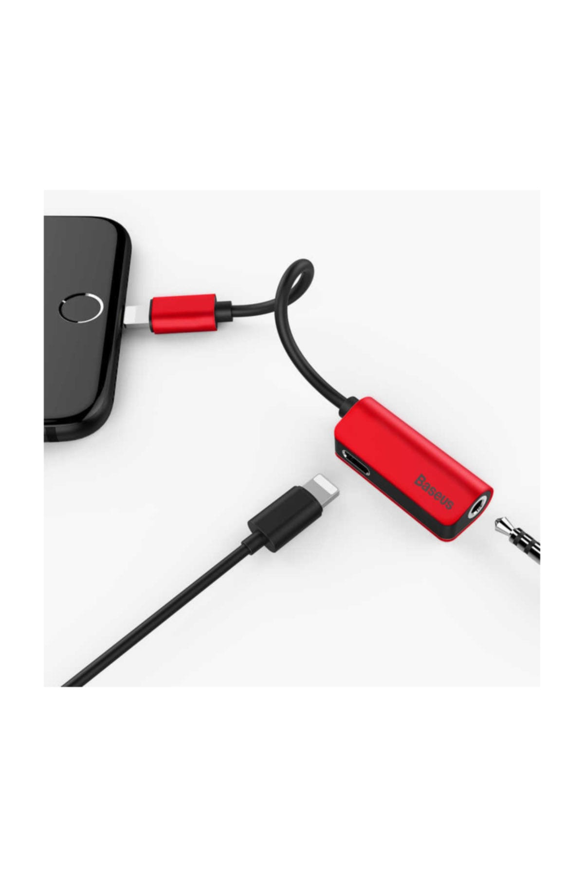 Baseus iPhone 3.5 mm Kulaklık + Lightning  Çoğaltıcı Adaptör L32