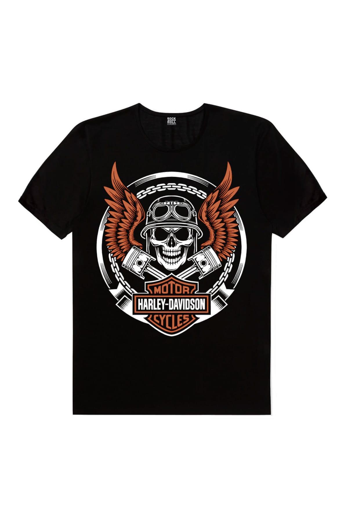 Motorcu Kurukafa Siyah Kısa Kollu Tişört