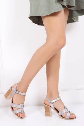 Deripabuc Hakiki Deri Bej Simli Kadın Deri Sandalet Dp11-0008 0