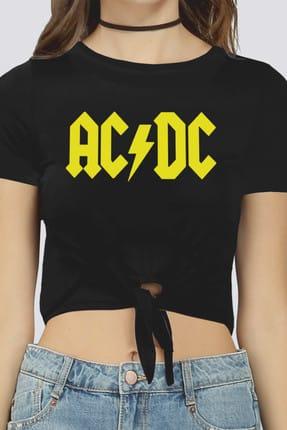 تصویر از ACDC Logo Siyah Kesik Crop Top Bağlı Kadın T-shirt 1M1TW001FS