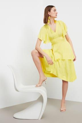 İpekyol Kadın Neon Sarı Neon  Bel Vurgulu Asimetrik Bluz IS1190006252BT1 3