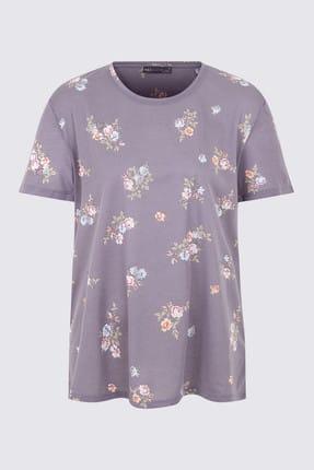 Marks & Spencer Kadın Lacivert Yuvarlak Yaka Kısa Kollu T-shirt T41001269X 0