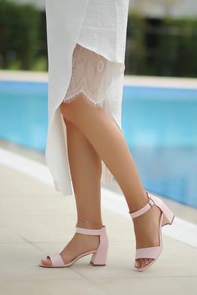 Pembe Potin Pudra Kadın Klasik Topuklu Ayakkabı A190-19 2