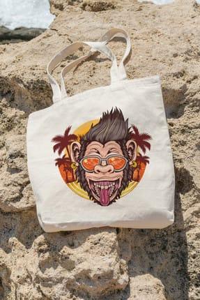 تصویر از Bag Eğlenceli Tatilci Şempanze Alışveriş Plaj Bez Çanta