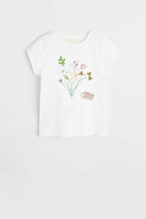 Mango Kırık Beyaz Kız Çocuk Desenli Pamuklu Tişört 53031091 0