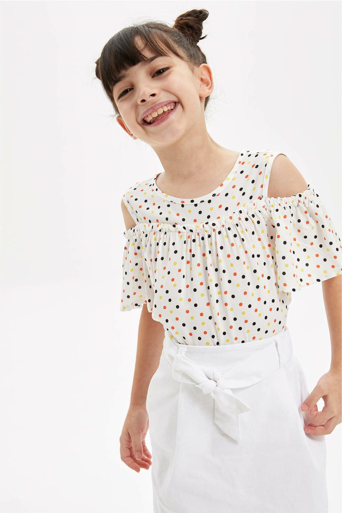 Kız Çocuk Puantiye Desenli Kısa Kollu Bluz L2064A619HSW