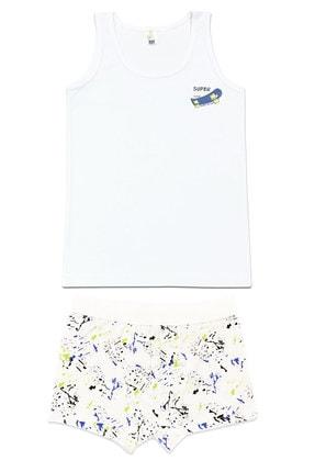 ÖZKAN underwear Erkek Çocuk Beyaz Desenli  İç Giyim Takım 0