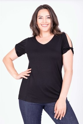 Picture of Kadın Siyah V Yaka Omuz Detaylı T-Shirt 34631