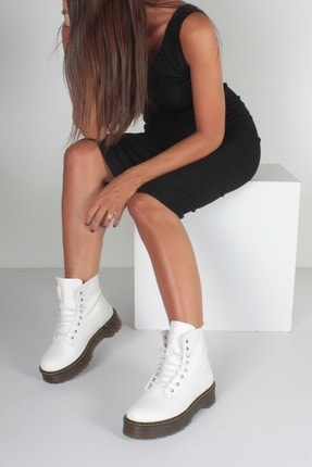 İnan Ayakkabı Beyaz Cilt Kadın Bot KY92515 2