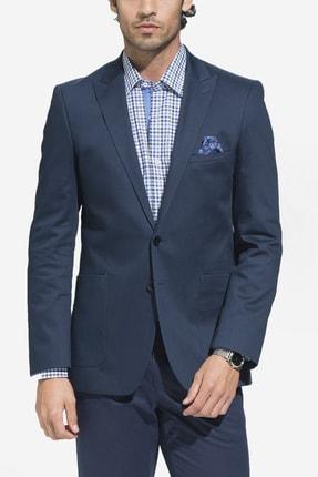 Erkek Palme Koyu Mavi Dar Kesim Pamuk Ceket - 116298