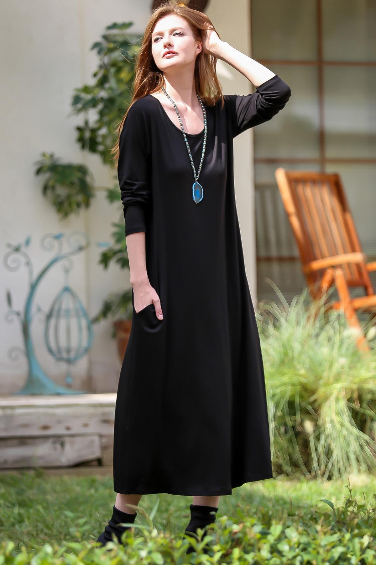 Chiccy Kadın Siyah Gizli Cepli Oversize Salaş Elbise C10160000EL97767 2