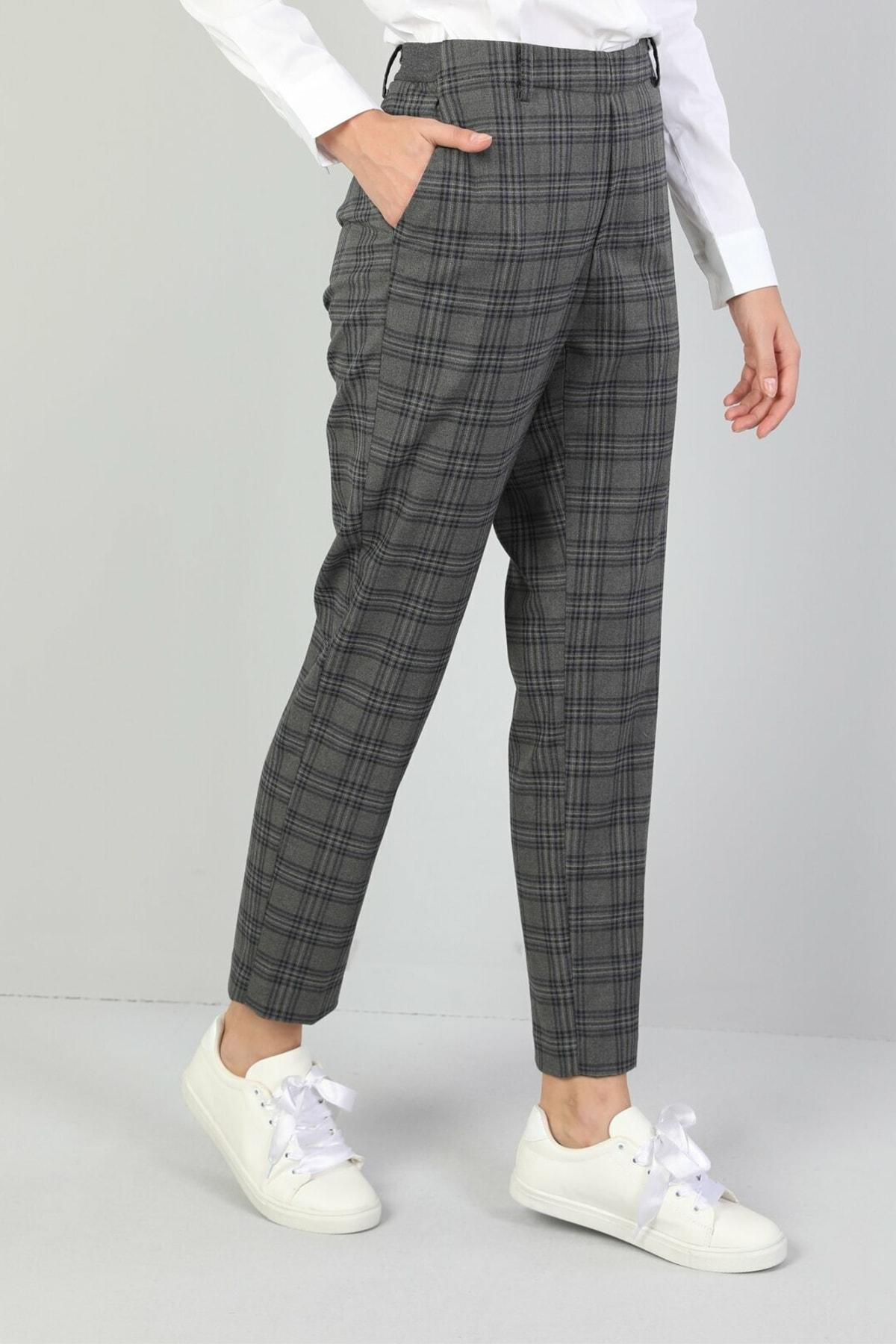 KADIN Slim Fit Düşük Bel Düz Paça Kadın Koyu Gri Pantolon CL1044965
