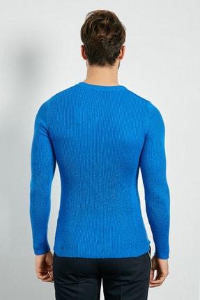Sateen Men Erkek Sax Mavi Bisiklet Yaka Triko 20KTR335E101 2