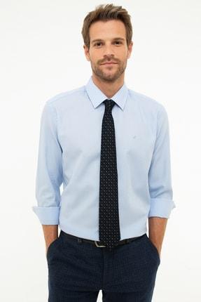 Picture of Açık Mavi Regular Fit Armürlü Gömlek