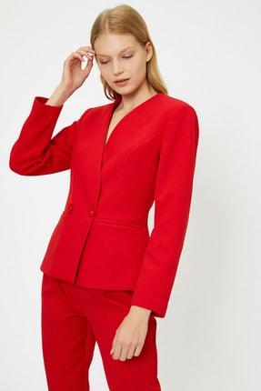 Koton Kadın Kırmızı Düğme Detaylı Ceket 0KAK52938UW 1