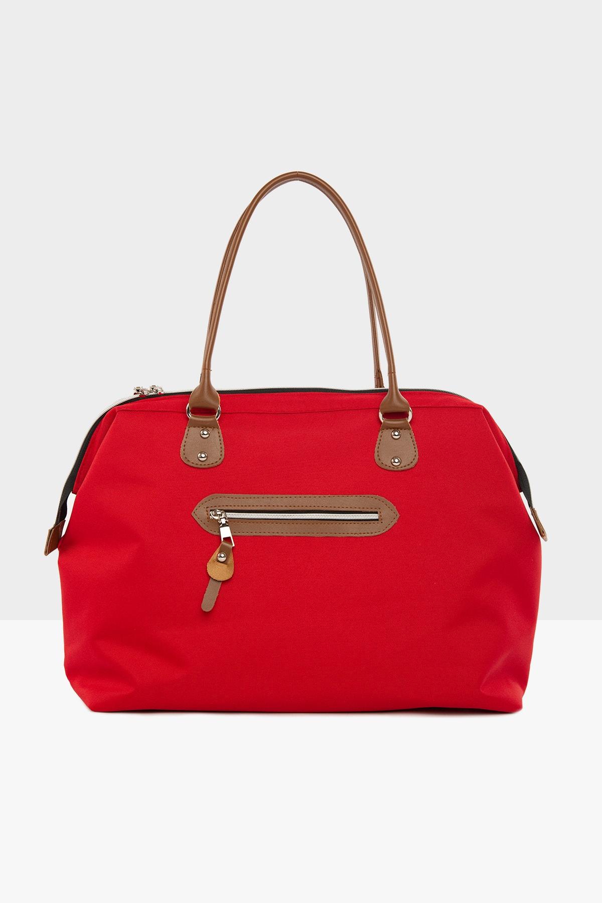 Bagmori Kırmızı Kadın Çizgi Baskılı Metal Aksesuarlı Çanta M000003608