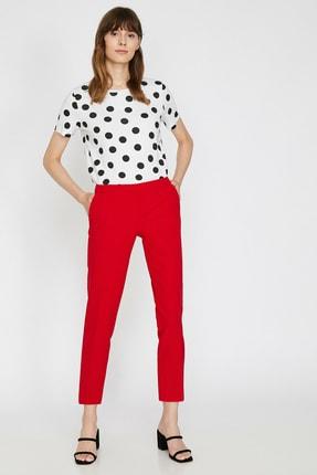 Koton Kadın Kırmızı Düz Kesim Pantolon 0KAK42500RW 1