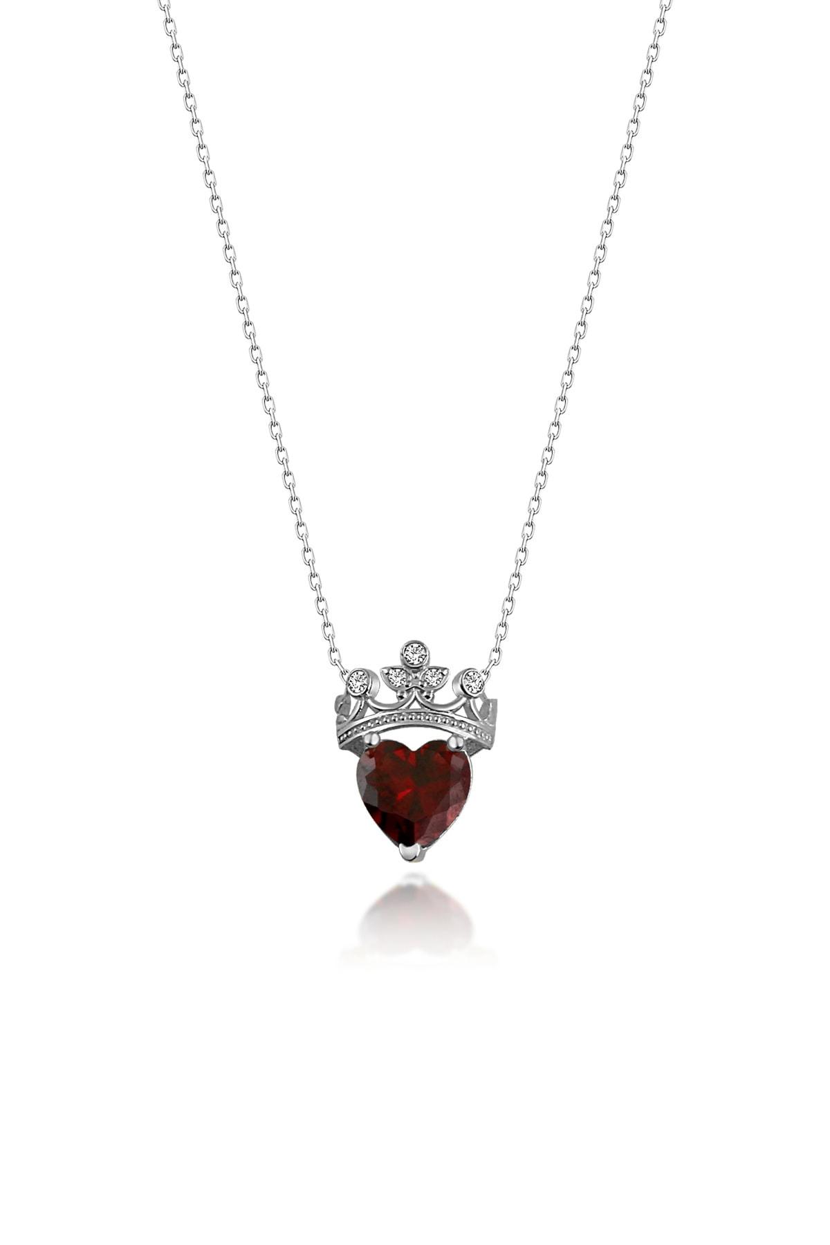 Gümüş Çarşısı Kadın Kalpli Kraliçe Gümüş Kolye CG213 0